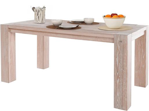 Esstisch SENNA aus Wildeiche Massivholz in weiß, 180 cm