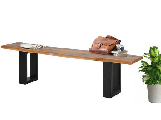 Sitzbank MAIKA Wildeiche mit Metallgestell schwarz, 180 cm