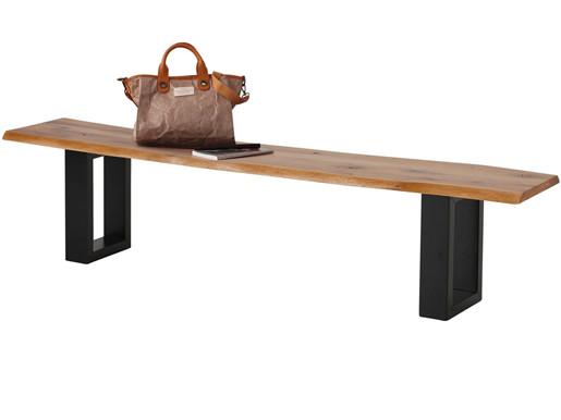 Sitzbank MAIKA Wildeiche mit Metallgestell schwarz, 200 cm