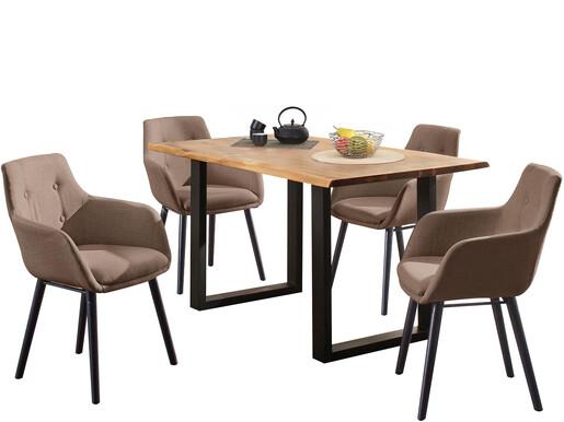 5-tlg. Essgruppe MEI 140cm mit Stühlen in cappuccino
