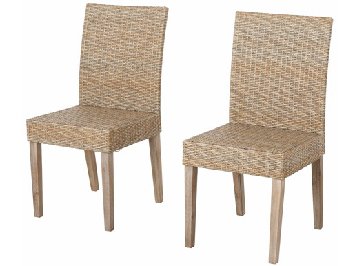 2er Set Stühle HONEY aus Polyrattan in natur/grau