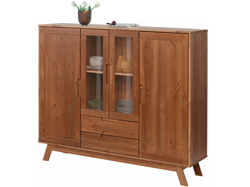 Highboard OLE aus Kiefer Massivholz in walnuss, 140 cm breit