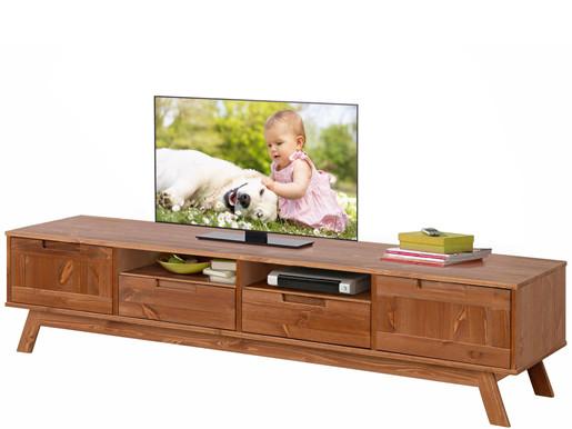 2-trg. TV Lowboard OLE aus Kiefer massiv in walnuss, 180 cm
