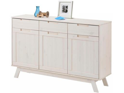 3-trg. Sideboard OLE aus Kiefer massiv in weiß, 128 cm breit