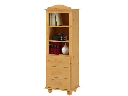 Bücherschrank MEGAN mit 3 Schubladen in gebeizt geölt