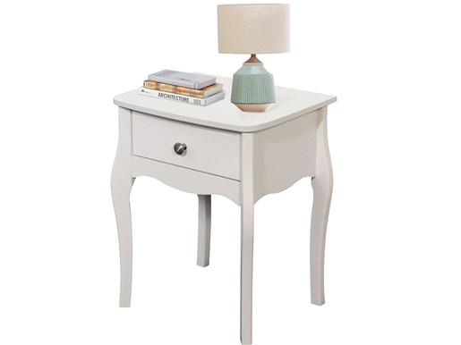 Nachttisch BAROQUE mit Schublade aus MDF in weiß