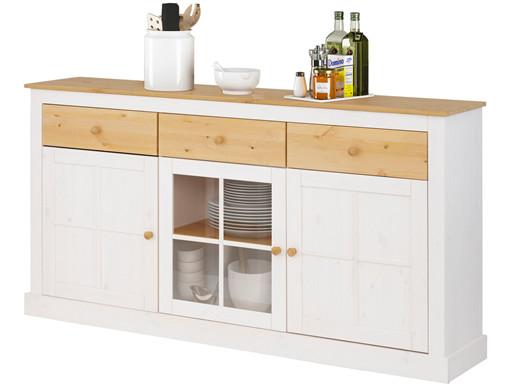 Sideboard CITO 3 Schubladen aus Kiefernholz in weiß/gebeizt