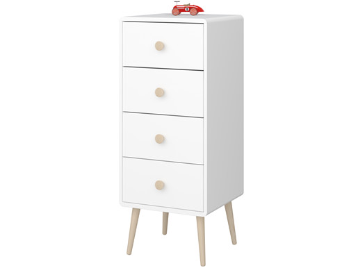 Kommode GIGI 4 Schubladen im skandinavischen Design, weiß