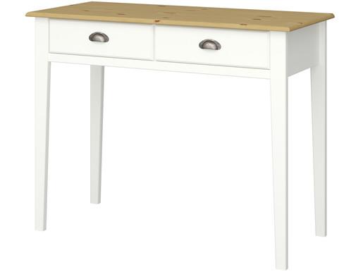 Schreibtisch LORCA mit 2 Schubladen, MDF in weiß/natur