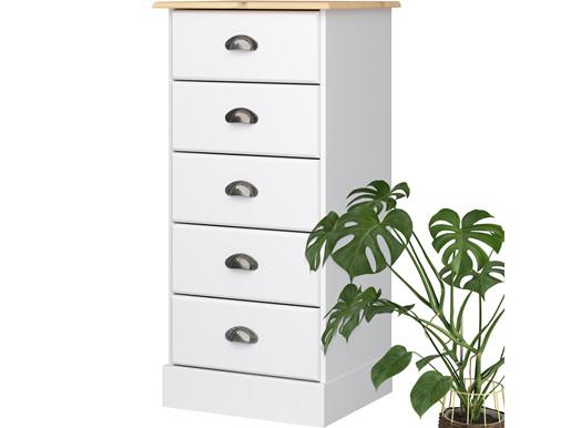 Kommode LORCA 5 Schubladen in weiß und natur
