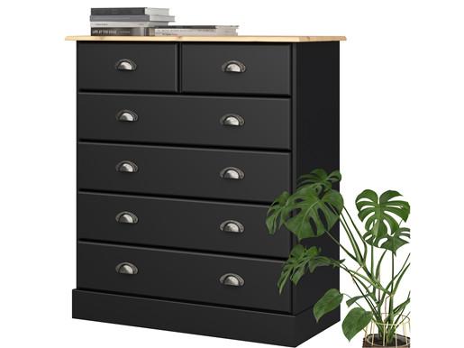 Kommode LORCA mit 6 Schubladen in schwarz & natur
