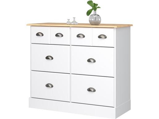 Apothekerkommode LORCA 6 Schubladen in weiß & natur