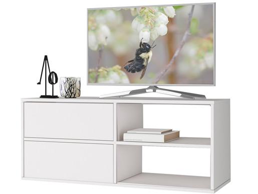 Schwebendes TV Lowboard LASSE mit 2 Schubladen in weiß