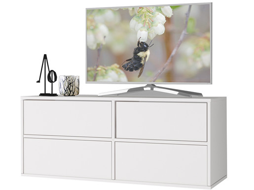 Fernsehhängeschrank LASSE mit 4 Schubladen in weiß
