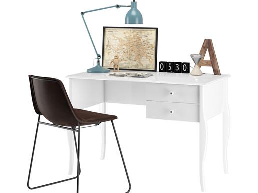 Schreibtisch CHARME mit 2 Schubladen in weiß, 112 cm breit