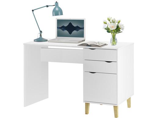 Moderner Schreibtisch CANDY mit Schubladen und Tür in weiß