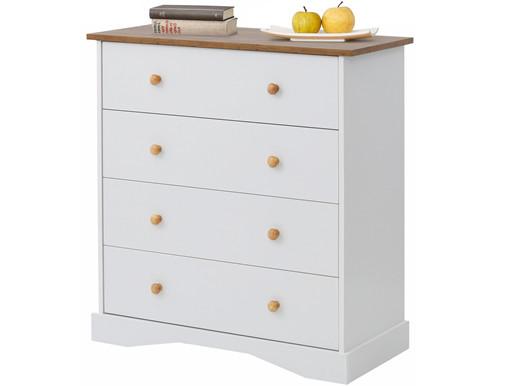 Kommode JULIA mit 4 Schubladen in weiß-eichefarben