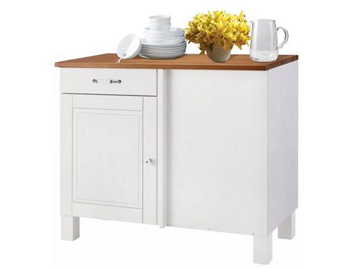 Küchenschrank ROMAN aus Kiefernholz in weiß & honig
