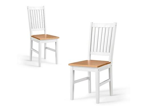2er Set Stühle TAVIAN aus Kiefer massiv in honig und weiß