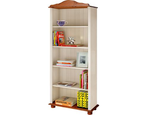 Bücherregal JASMIN Landhausstil Kiefer massiv weiß & honig