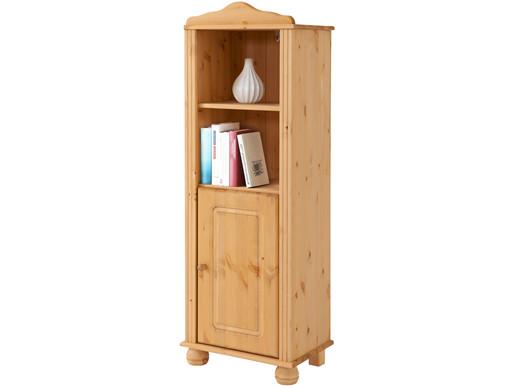 Bücherregal ANNETTE mit Tür aus Kiefer massiv, gebeizt geölt