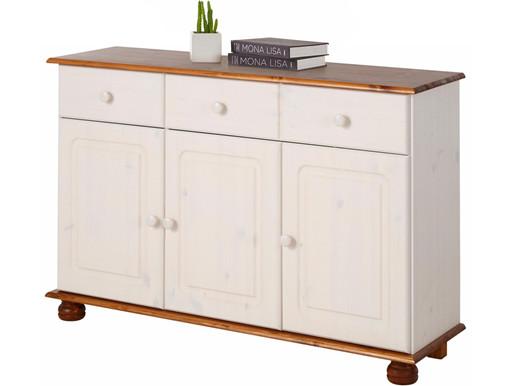 3-trg. Sideboard ANNETTE aus Kiefer massiv in weiß/honig