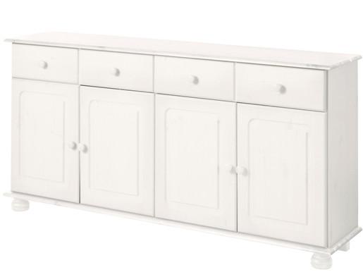 4-trg. Sideboard ANNETTE aus Kiefer massiv in weiß lasiert