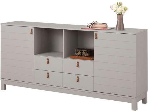 Sideboard ELKA aus Kiefer Massivholz in grau, Breite 180 cm
