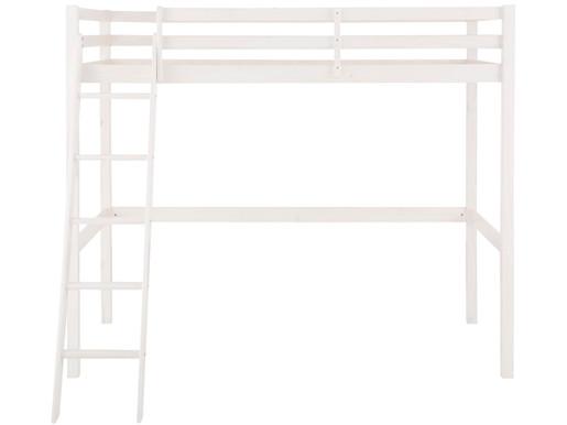 Hochbett ANTJE aus Kiefer Massivholz mit Leiter in weiß