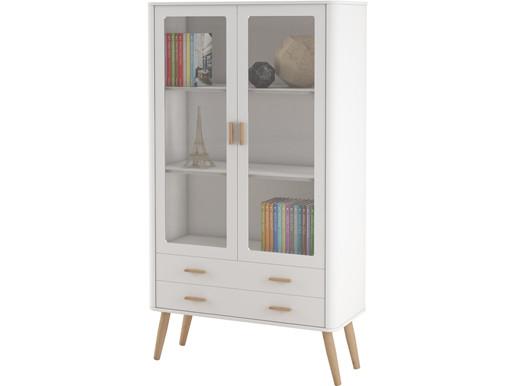 2-trg. Vitrine PANDORA in weiß im Skandinavischen Design