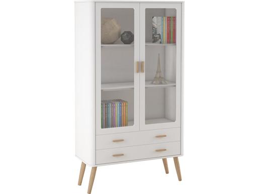 2-trg. Standvitrine PIA im Skandinavischen Design in weiß