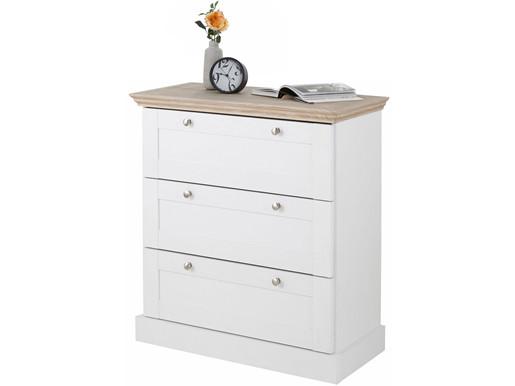 Kommode BLAIR mit 3 Schubladen in weiß/eichefarben