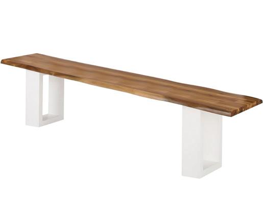 Sitzbank MEI aus Akazie mit Metallgestell in weiß, 200 cm