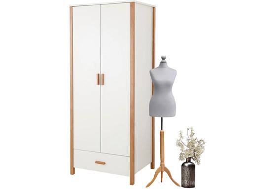 2-trg. Kleiderschrank CHICKY mit Schublade in weiß/ahorn