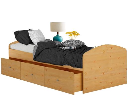 Bett MISSA 90x200 cm aus Kiefer massiv in honigfarben
