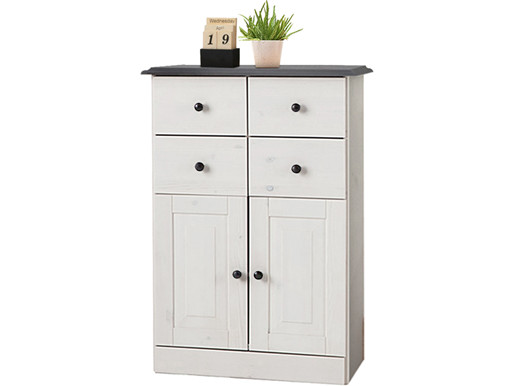 Highboard CHERYL aus Kiefer in havanna & grau