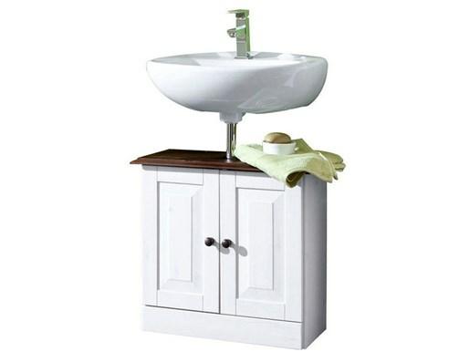 Waschbeckenunterschrank CHERYL Kiefer massiv, havanna/weiß