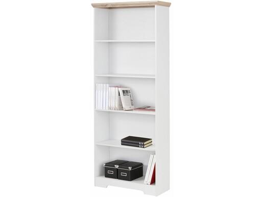 Bücherregal NELE aus MDF in weiß/eichefarben, Höhe 180 cm