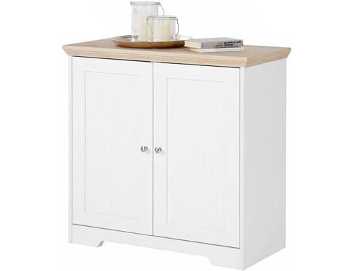 2-trg. Sideboard NELE aus MDF in weiß/eiche, Breite 80 cm