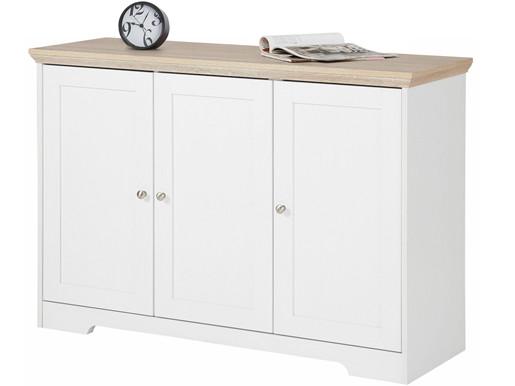 3-trg. Sideboard NELE aus MDF in weiß/eiche, 118 cm breit