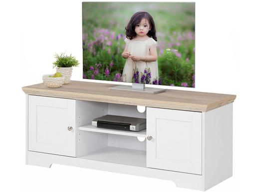 2-trg. TV-Lowboard NELE aus MDF in weiß/eiche, 118 cm breit