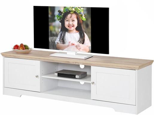 2-trg. TV-Lowboard NELE aus MDF in weiß/eiche, 158 cm breit