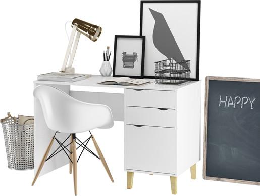 Schreibtisch CANDY aus MDF in weiß 2 Schubladen