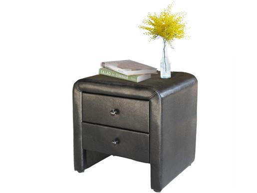 Nachttisch NAKOS aus PU Leder mit 2 Schubkasten in schwarz