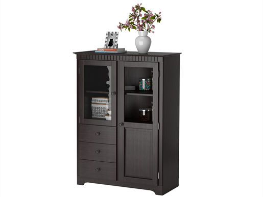 Highboard ELIZABETH aus Kiefer massiv in havanna lackiert