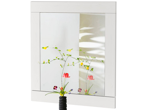 Spiegel NEPTUNE aus Kiefer massiv in weiß lasiert