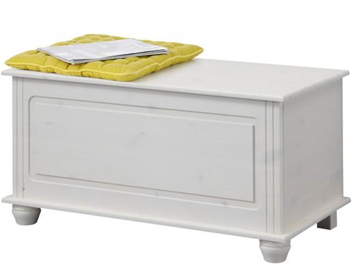 Sitztruhe FOTINA aus Kiefer massiv in weiß lackiert, 85 cm