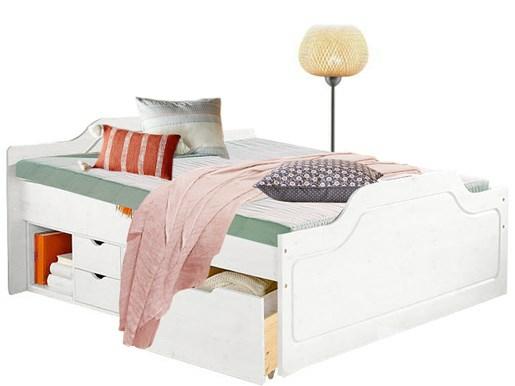 Bett SVANA 140cm aus Kiefer massiv in weiß lasiert