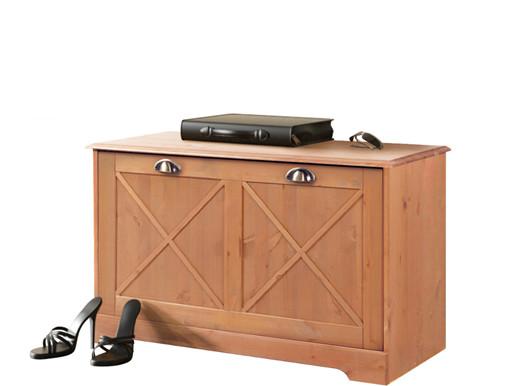 Sitzbank HEIDI mit Schuhhalterung aus Kiefer gebeizt geölt