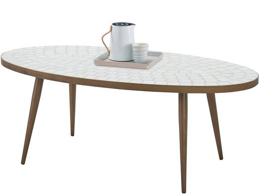 Couchtisch SADHU mit Mosaik Tischplatte in weiß, 120 cm